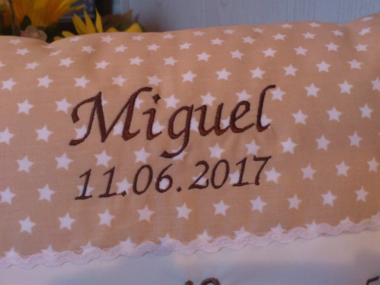 Sternzeichen in Uhr beige Kissen mit Namen zur Geburt,Taufe
