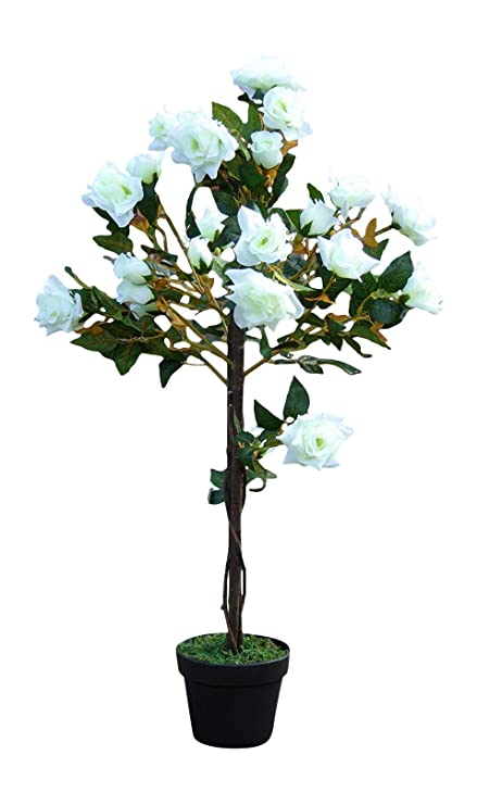 Uk Gardens 1m 3ft Artificial Rose Tree In A Pot Artificial Potted