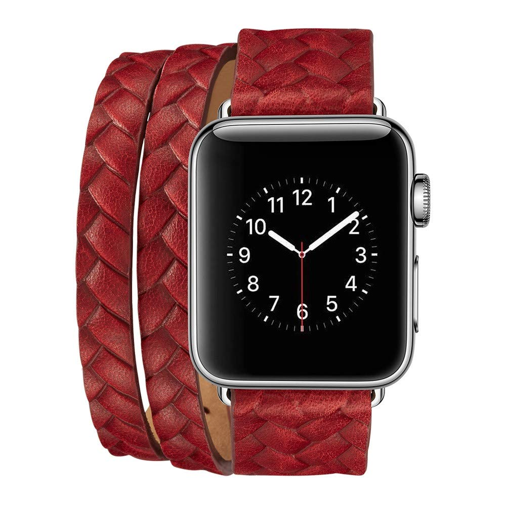 Lywey Clearance Double Tour Leather Accessory Band Replacement Bracelet for Apple Watch 4 44mm by Lywey (Image #2)