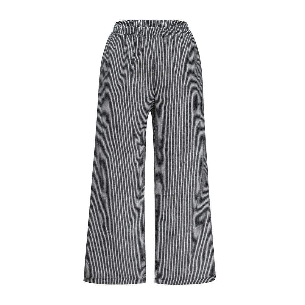 ABsolute Pantalones largos Pantalones Anchos Mujer Tallas Grandes Lino de Mujer Pantalones Largos de Rayas de Talla Grande para Mujer Pantalones de Mujer de ...