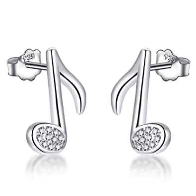 Meixao Ladies Jewellery S925 Sterling Silver Studs Earrings Cubic Zirconia Music Note for Women Gift pydpfp