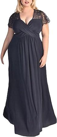 Vestidos Fiesta Mujer Mujer Tallas Grandes Elegantes Vestido Verano Vestido Ninas Ropa Coctel Vestidos Maxi De Noche De Encaje Splice Manga Corta V Cuello Color Solido Largos Vestido Mujer Fiesta Amazon Es Ropa