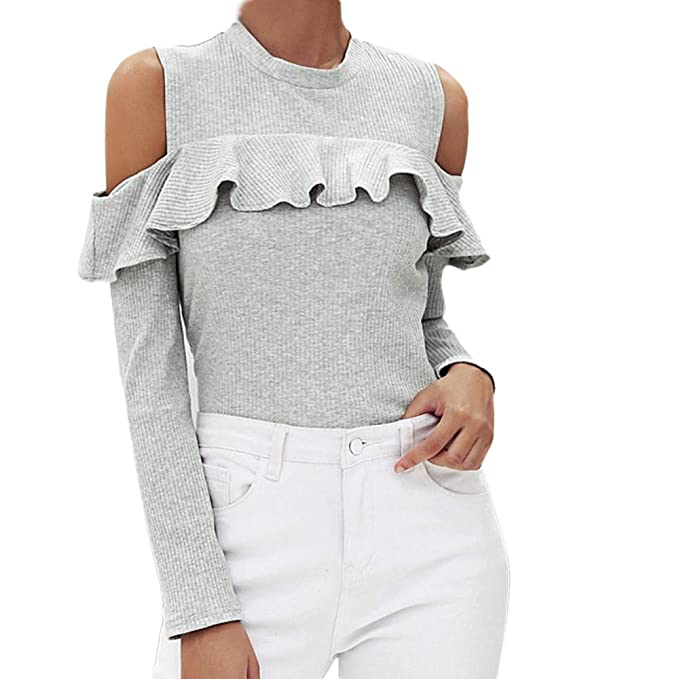 Camisetas Larga Tops 2018 Blusas Mujer Fiesta Deportivo Sexy Volantes Casuales Cold Off Shoulder Solid Manga