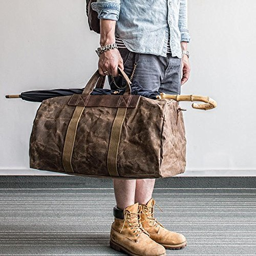 Handmade Waxed Canvas Duffle Bag Travel Bag Holdall Luggage Bag Canvas Messenger