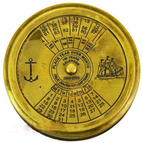 真鍮CalenderポケットコンパスハンドメイドCollectibleコンパス100年のCalender B0742C8QP8