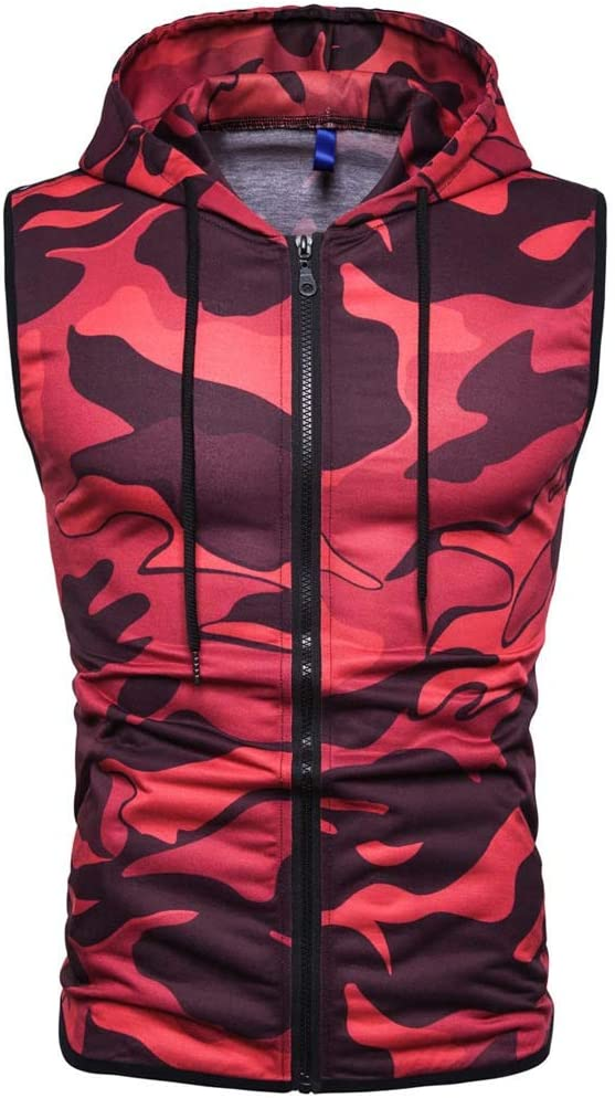 Mens Summer Hoodie Vest Tronet Hooded Vest Sleeveless Lightweight Zip-up Casual Sport Workout Tank Tops