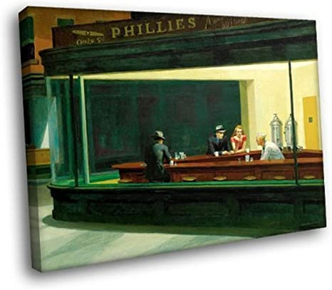 Nighthawks 1942 by Edward Hopper Painting Reprint On Framed Canvas Wall Art Home