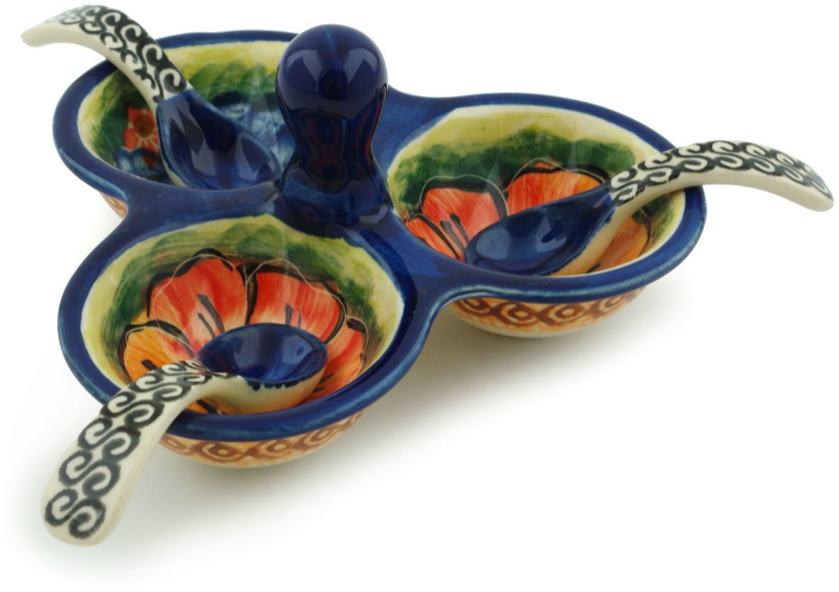 Polish Pottery Small Condiment Server with Spoons (Bright Beauty Theme) Signature UNIKAT + Certificate of Authenticity Boleslawiec