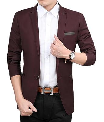 Amazon.com: TM para hombre Slim Fit elegante Casual un botón ...