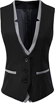 V VOCNI Women V-Neck Slim Fit Business Office Bottoned Dressy Suit Vest Waistcoat