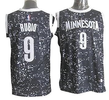 pretty nice 6281e 493bd Timberwolves 9 Ricky Rubio Black City Luminous Jersey Size-L ...