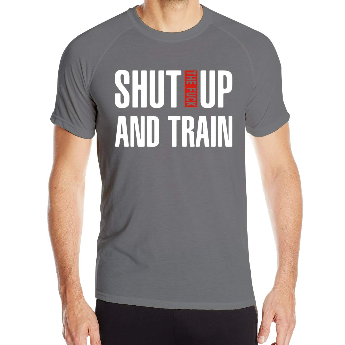 Shut UP and Train Mens Quick Dry Crew Neck T Shirt Tee Basic Short Sleeve Cycling Jersey 1