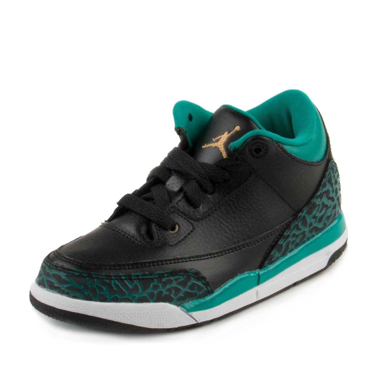 Nike Baby Girls Air Jordan 3 Retro GG Black/Metallic Gold-Teal Leather Size 1.5Y