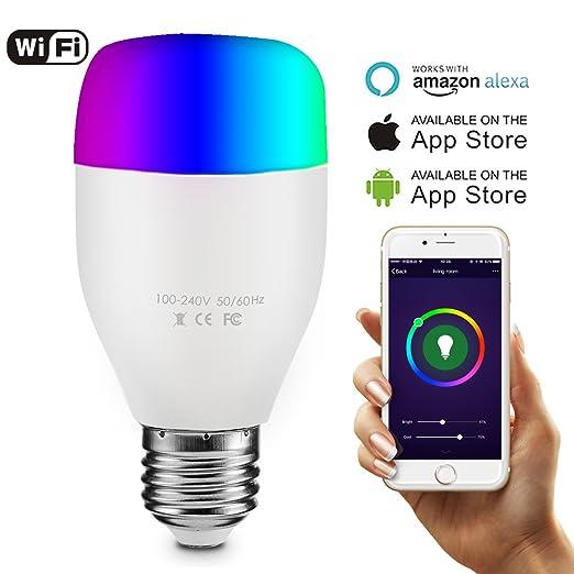 smartphone lighting control. Smart WiFi Bulb, 60W Equivalent E27 LED Light Bulb Works With Amazon Alexa, Smartphone Lighting Control