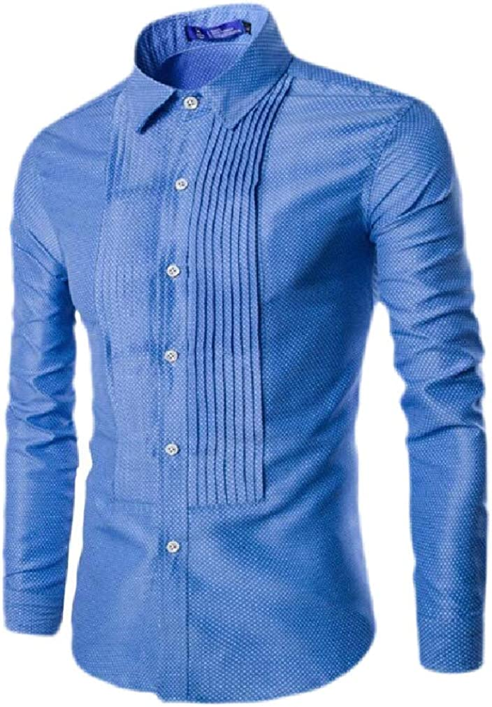Cromoncent Mens Casual Slim Fit Dot Print Long Sleeve Button Down Shirts