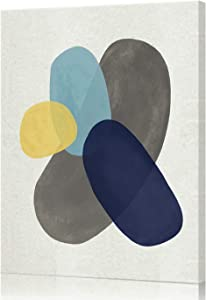 Lamplig Abstract Wall Art Blue Canvas Print Yellow Picture Gray Minimalist Modern Watercolor Painting Artwork 12 x 16 Inch Stretched and Framed for Living Dining Room Bedroom Office Home Room Wall Decor