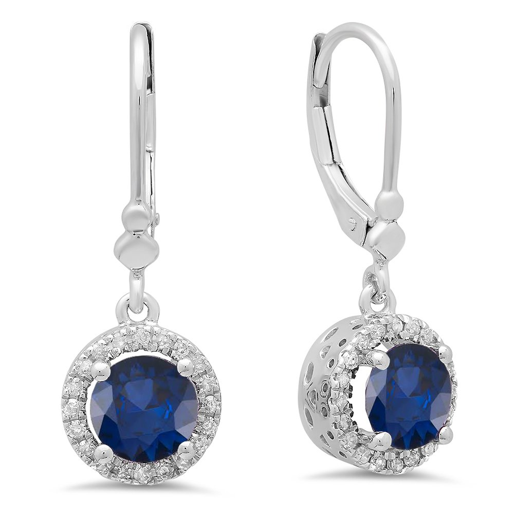 14K White Gold Round Blue Sapphire & White Diamond Ladies Halo Style Dangling Drop Earrings