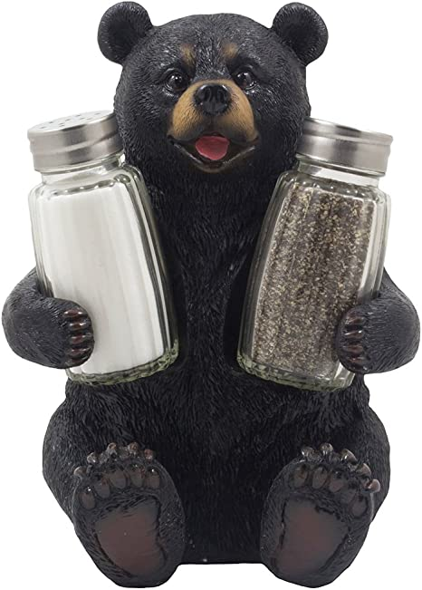 Decorative Black Bear Glass Salt And Pepper Shaker Set With Holder Figurine Sculpture For Rustic Lodge And Cabin Kitchen Table Decor Centerpieces Spice Rack Decorations Or Teddy Bear Gifts Kitchen