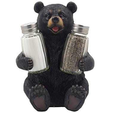 Decorative Black Bear Glass Salt and Pepper Shaker Set with Holder Figurine Sculpture for Rustic Lodge and Cabin Kitchen Table Decor Centerpieces & Spice Rack Decorations or Teddy Bear Gifts