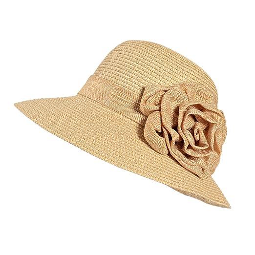 Urban CoCo Women s Foldable Wide Brim Caps Beach Sun Visor Straw Hat ( 3  Beige c6acca3dd3e