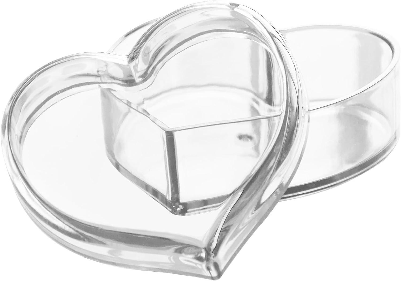 Solly's Clara - Contenedor en forma de corazón de acrílico para joyas, cosméticos - Caja de regalo para niñas - Transparente