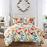 Fire Kirin Floral Duvet Cover Set with Soft Lightweight Microfiber 1 Duvet Cover and 2 Pillowcases, Colorful Flower Pattern Bedding Sets Comforter Cover (Queen)