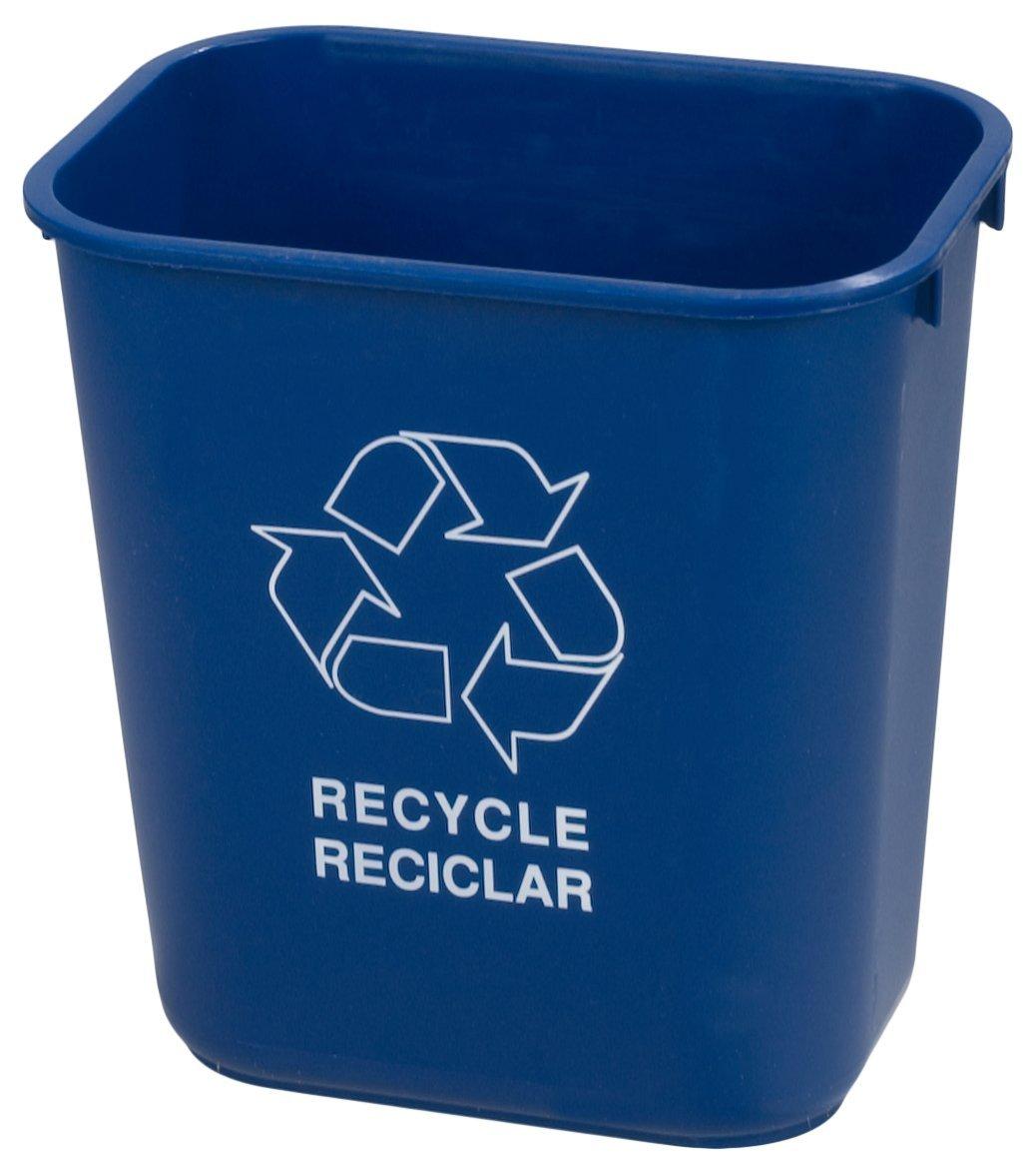 Carlisle 342928REC14 Plastic Recycle Deskside Wastebasket, 28 Quart, Blue