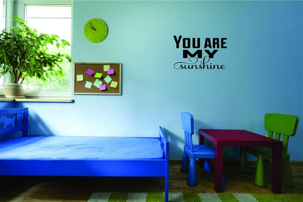 Design with Vinyl Moti 2717 2 Decal Wall Sticker You are My Sunshine Quote Text Lettering Boy Girl Kids Teen Men Women Color Black Size 16 Inches x 16 Inches