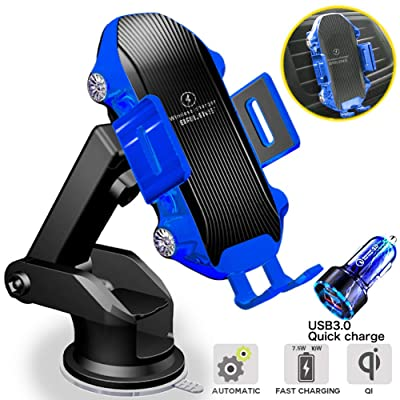 Wireless Car Charger Mount Auto Clamping,10W/7.5W/5W Qi Fast Auto-Clamping Brilens Wireless Car Charger with Strong Suction Smart Touch Sensing Air Vent Windshield Dashboard Phone Holder(Blue)
