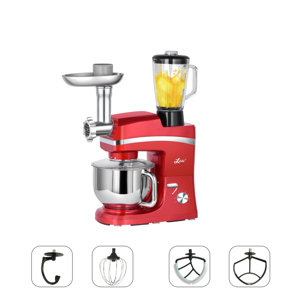 Litchi 5.3 Quart Stand Mixer, 6 Speed Tilt-Head Stand Mixer with Meat Grinder, Blender, Sausage Stuffer, Pasta Dies, Dough Hook, Mixing Blade, Flat Beater, Whisk and Pouring Shield, Red by Litchi