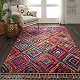 Cheap Nourison MCB01 Moroccan Casbah Plush Bohemian Red/Multicolor Shag Area Rug 5'3″ x 7'9″