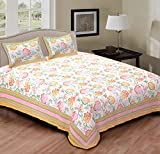 RIDAN Traditional Floral Design Cotton Double Bedspread Sheet w/ 2 Pillow Covers/Tribal Ethnic Wall Hanging Tapestry Bedding/Indian Trendy Jaipuri Pattern Meditation Duvet Throw-Orange