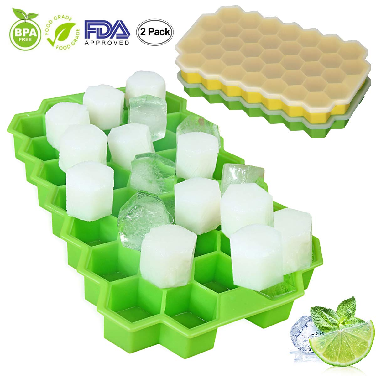 2 Packs Ice Cube Trays, Food Grade Silicone Ice Trays with Free Lids, 74 Cubes Flexible Stackable Easy Release Freezer Molds for Home Cocktail Whiskey DIY Food, Green & Yellow