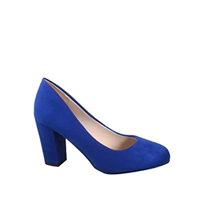 FZ-Songful-3 Women's Fashion Round Toe Chunky Heel Faux Suede Dress Pump Shoes | Pumps