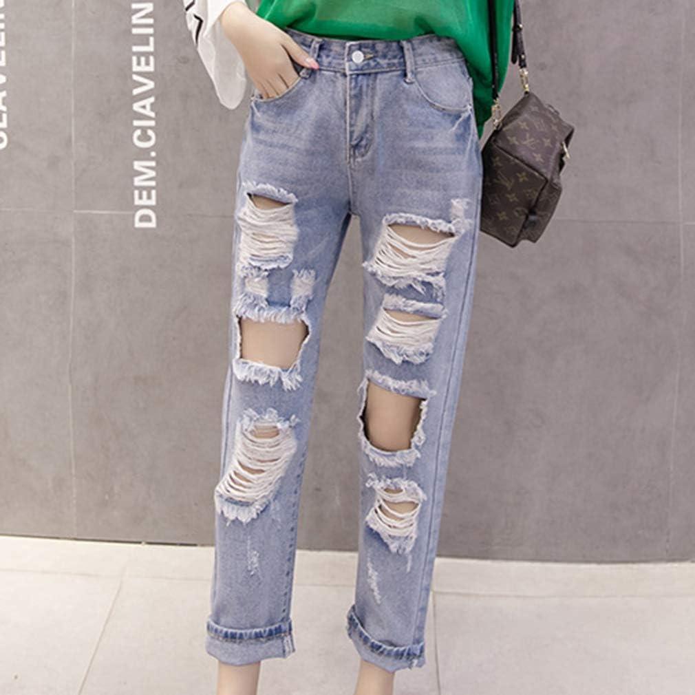 Slim Elasticidad Agujero Roto Jeans Suelto Casuales Rasgado Pantalones De Mezclilla Cintura Alta Color Solido Moda Pantalones Rectos Nueve Puntos Pantalones Mujer Vaqueros S 3xl