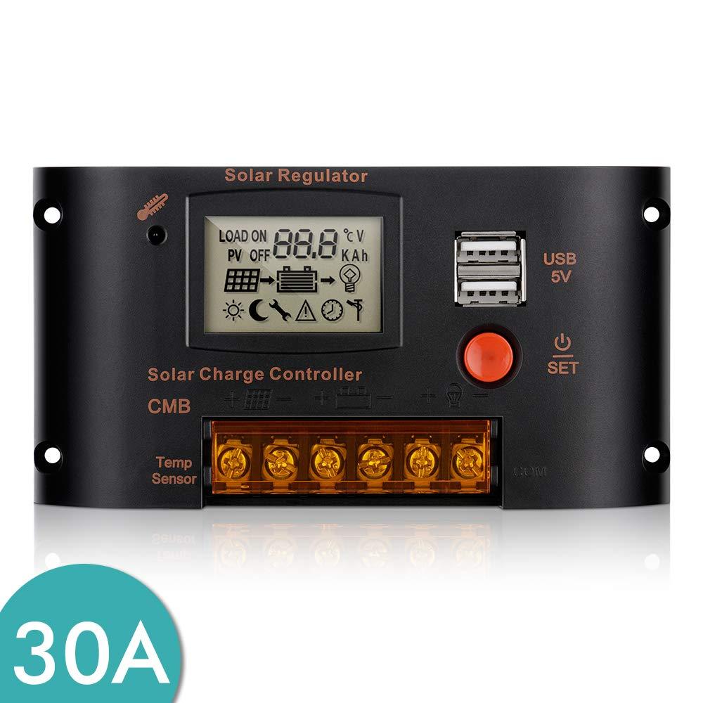 24V LCD 30A 12 ATATMOUNT Contr/ôleur de Charge de r/égulateur de Batterie de Panneau Solaire Double USB PWM 10//20