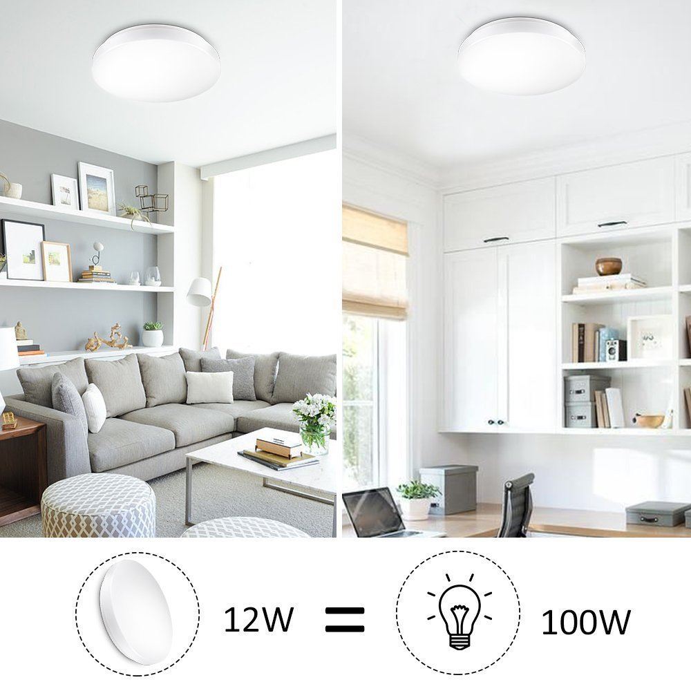 Ustellar Waterproof 15W LED Ceiling Lights, 11inch 100W Incandescent Bulbs Equivalent, IP44, 950lm, Lighting for Bathroom, Kitchen, Hallway, Flush Mount Ceiling Light, 6000K Daylight White