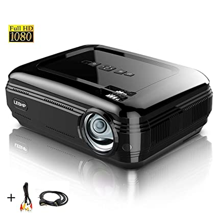 Proyector Full HD 1080P, LESHP Proyectores 3200 Lúmenes Portátil Proyectores LED Projector LCD Cine Casero 1280×1920 para PC Portátil, TV, Hogar, ...