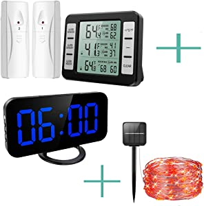 ORIA Refrigerator Thermometer and Alarm Clock and String Lights