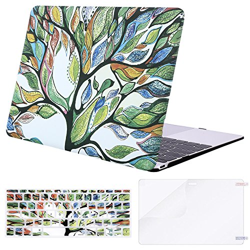 MOSISO Plastic Pattern Hard Case & Keyboard Cover & Screen Protector Compatible MacBook 12 Inch with Retina Display A1534 (Newest Version 2017/2016/2015), Love Tree
