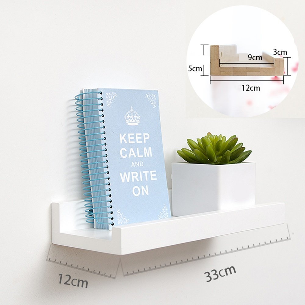 壁パーティションラック、リビングルームテレビ壁掛け装飾フレーム、ベッドルームの壁クリエイティブ木棚 ( 色 : 白 , サイズ さいず : 33*12*5cm ) B076GSM2H3 14452 33*12*5cm|白 白 33*12*5cm