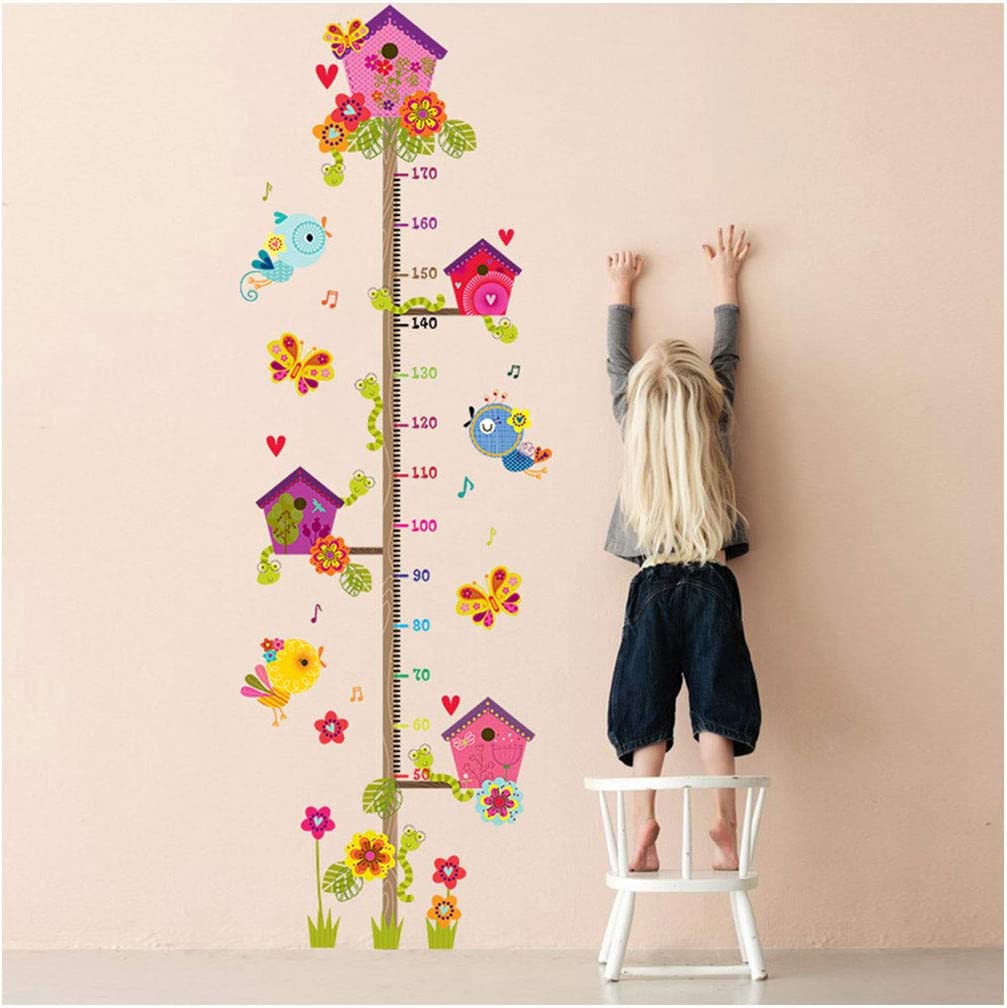MIkilon House Birds on Tree Growth Chart Kids Wall Decals Colorful Kids Height Chart, 69.7x22 Finished Peel and Stick Removable Wall Stickers for Kids Nursery Bedroom Living Room
