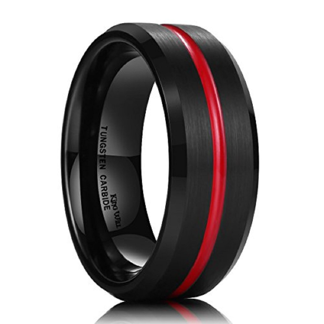 King Will LOOP Thin Red Groove Black Brushed Tungsten Carbide Wedding Band Ring Comfort Fit OY-R174