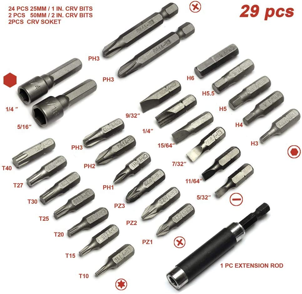 TOOLMAN 29pc HSS screwdriver Bit Set Flat Star Philips head Socket Extension Rod