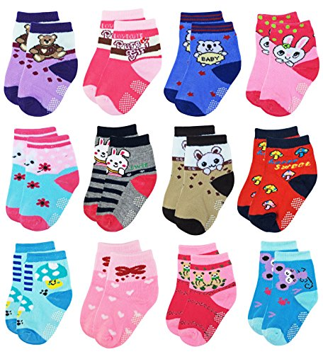 Deluxe Non Skid,Anti Slip,Slipper Ankle Socks For Baby,Toddler,Kids,Boys,Girls (Shoe size:10-1, 12 Pack/Assorted) from Deluxe