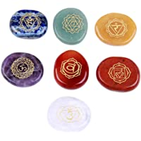 JD Gems Chakra Stones-Reiki Healing Crystal With Engraved Chakra Symbols Holistic Balancing Polished Palm Stones Set of 7