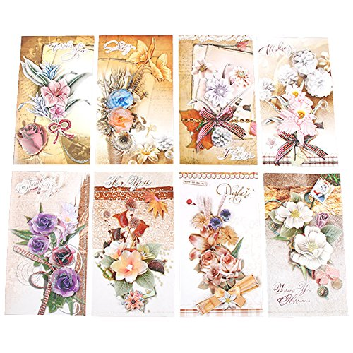 Brave Tour Romantic Floral Stereo Card on Mother's Day Greeting Card (8 Pieces)