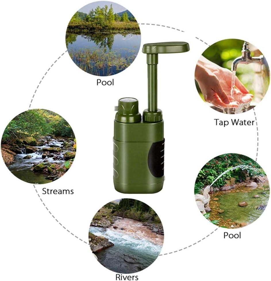 Convenant au Camping HUIHUAN Pompe portative d/épurateur deau avec Filtre /à Eau rempla/çable de 0,01 Micron de Carbone 4 /étapes de Filtre randonn/ée