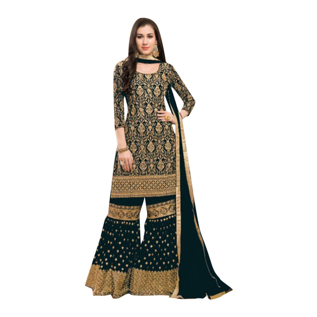 65d3b20255 Amazon.com: Designer Party Wear Garara Palazzo Salwar Kameez Pant Custom to  Measure Indian Ethnic Wear HIT 2724: Clothing
