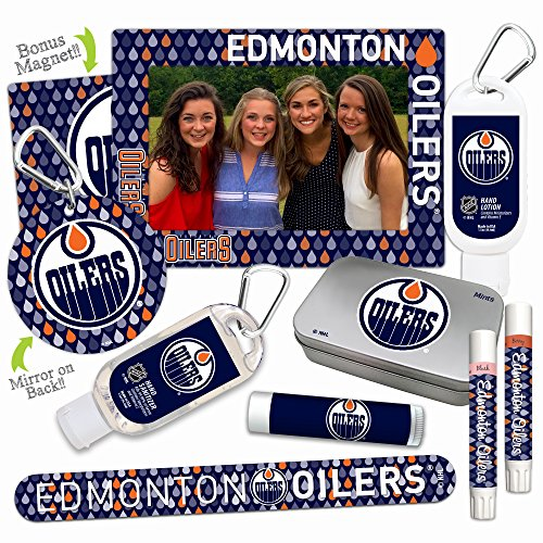 NHL Edmonton Oilers Platinum Variety Set- with 2 Lip Shimmers, Lip Balm SPF 15, Nail File, Mirror, Sanitizer, Lotion, Mint Tin, Magnetic Picture Frame. Gifts for Women, by Worthy. ()